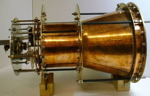 Une photo de l'EMdrive, qui défie prétendûment les lois de la physique. Image credit: SPR, Ltd., of the EMdrive.